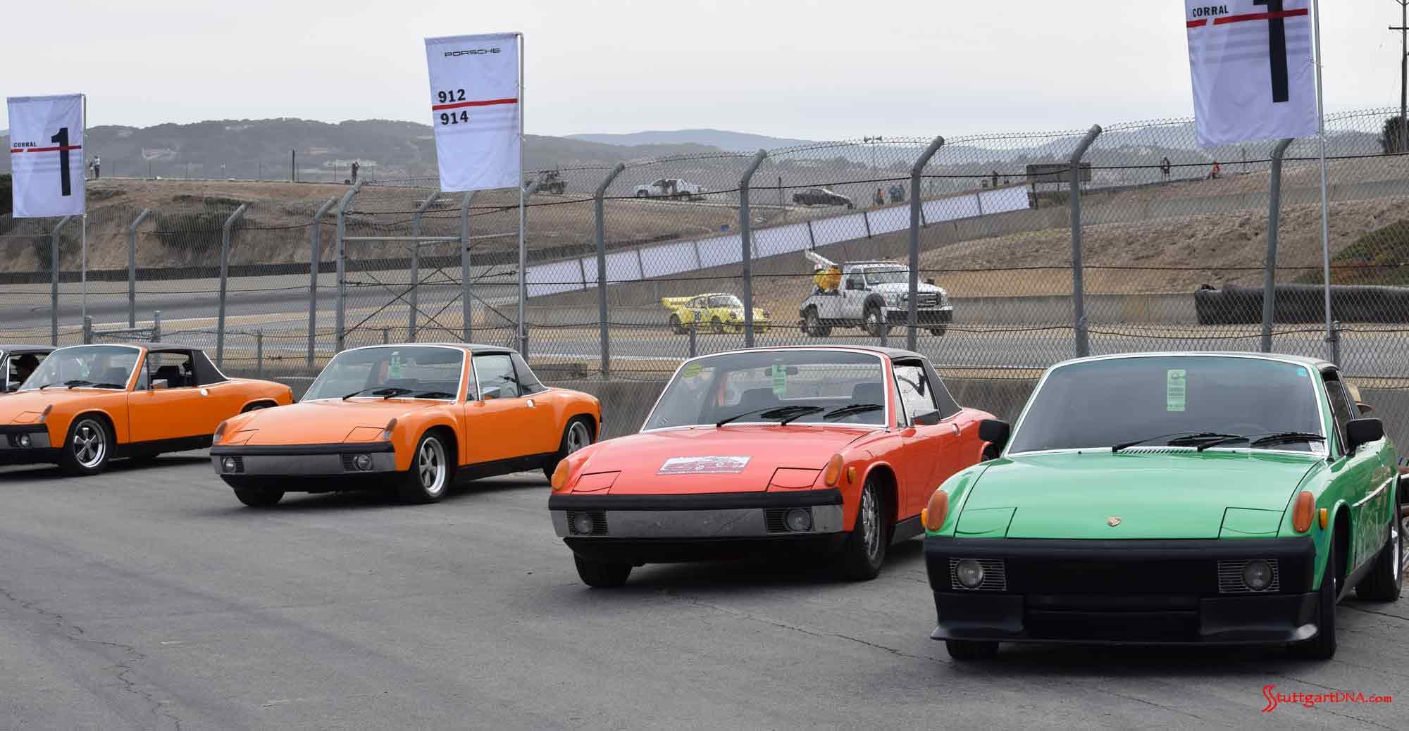 Porsche 914 Okteenerfest: We're at the 914 Corral at 2015 Porsche Rennsport Reunion V, captuing 4 fine 914 specimens. Credit: StuttgartDNA