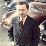 Ferry Porsche Biography: Dr. Porsche is pictured here with 356s parked in the background.