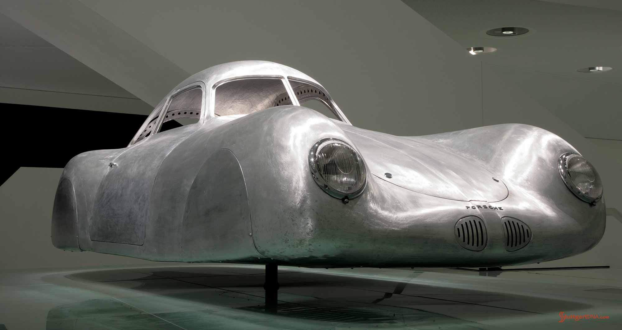 Porsche No 1: 60K10 - Typ 64 - body shell, low-angle, at Porsche Museum Stuttgart. Credit: Porsche AG