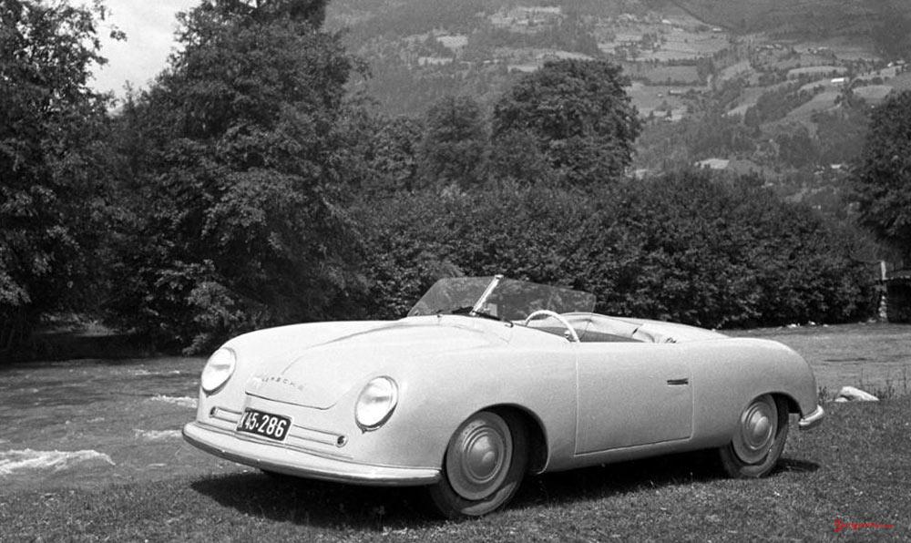 Porsche No 1: Porsche 356 No 1 in Gmünd, 1948. Credit: Porsche AG
