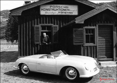 Porsche No 1 in front of Porsche Automuseum Gmund. Credit: Pfeifhofer GmbH