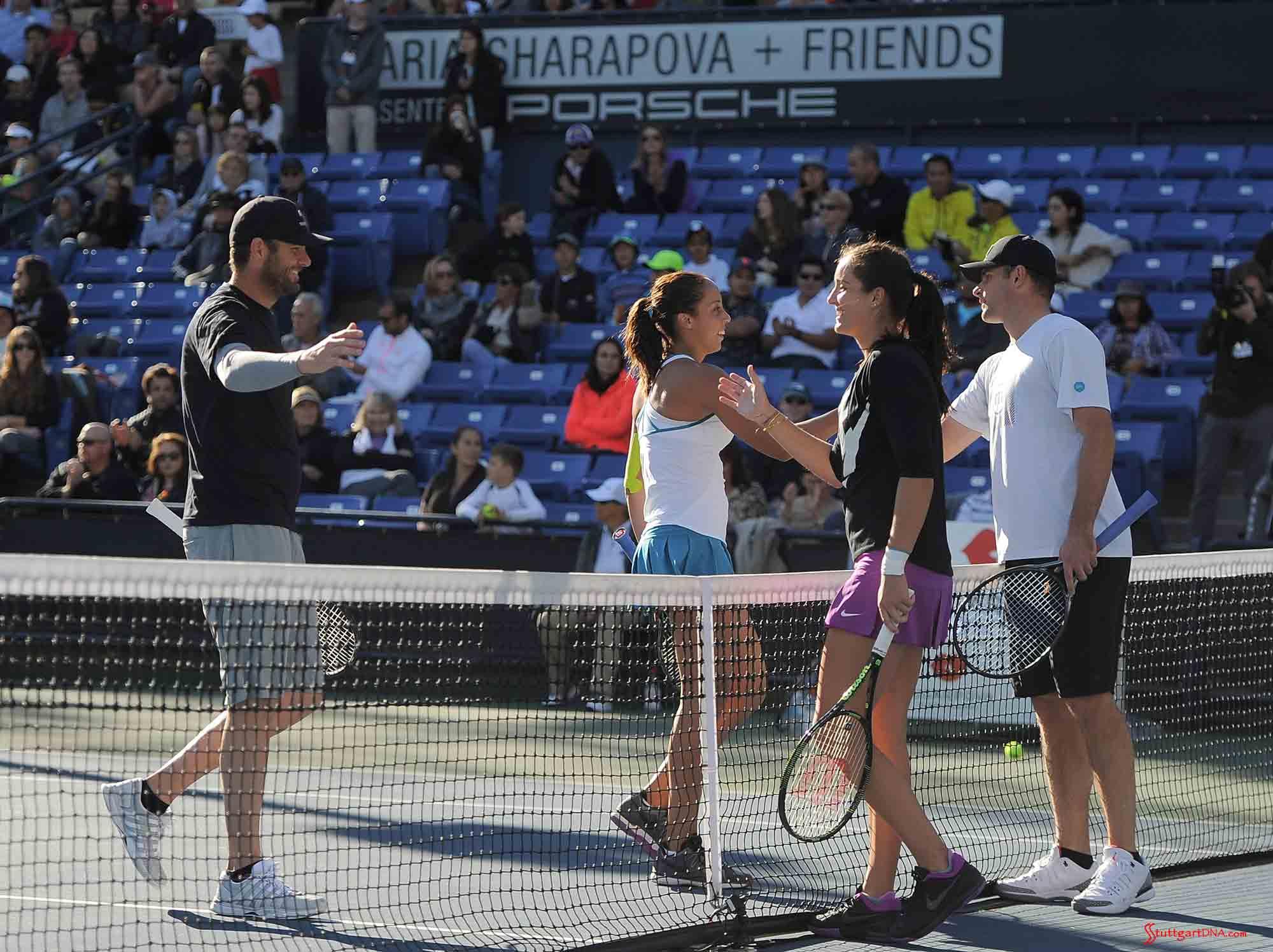 Maria Sharapova and Friends 2015 LA Event: Fish, Keys, Robson and Roddick on UCLA Tennis Center Court. Credit: Porsche AG