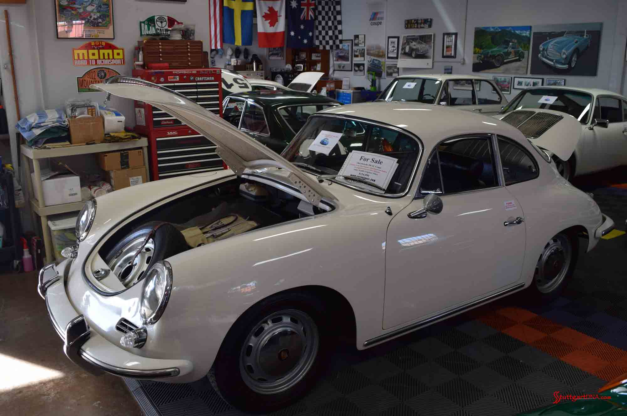 2017 Porsche L.A. Literature, Toy and Memorabilia Meet Weekend: Seen here is a a white numbers-matching 1964 356 SC, with only 39,000 miles, for sale during the 2017 Auto Kennel Open House. Credit: StuttgartDNA