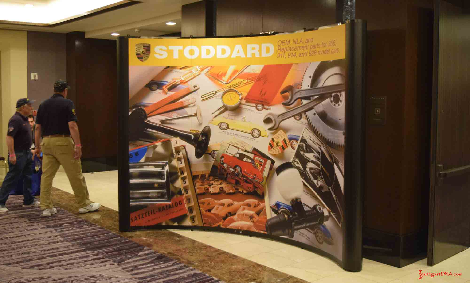 2017 Porsche L.A. Literature, Toy and Memorabilia Meet Weekend: Pictured here is Stoddard signage in lobby announcing its new stewardship of the 2017 Porsche L.A. Lit Meet. Credit: StuttgartDNA