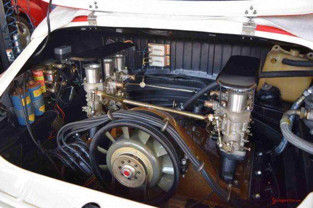 2017 Porsche L.A. Literature, Toy and Memorabilia Meet Weekend: Callas Porsche 911R No 001 engine, from right angle, at Callas Rennsport 2017 Lit Weekend Open House. Credit: StuttgartDNA