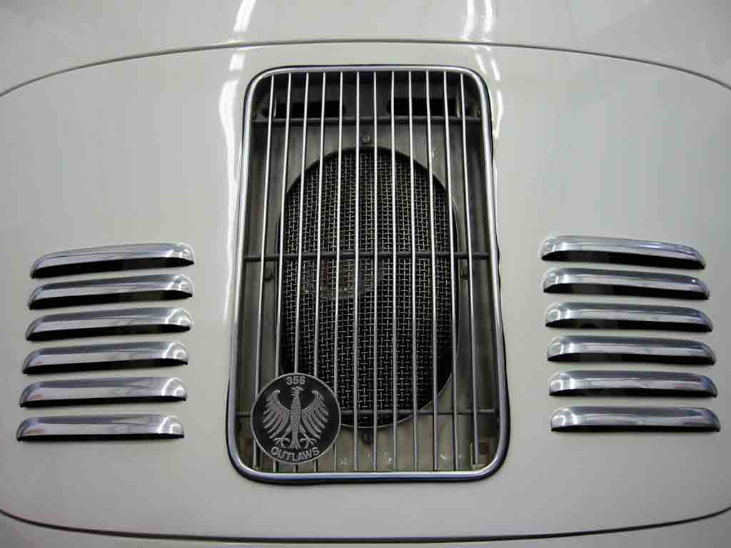 """2017 Porsche L.A. Literature, Toy and Memorabilia Meet Weekend: Pictured here is GTwerk's aluminum skin with louvers (and a """"356 Outlaws"""" grill badge) from the firm's catalog. Credit: GTwerk"""