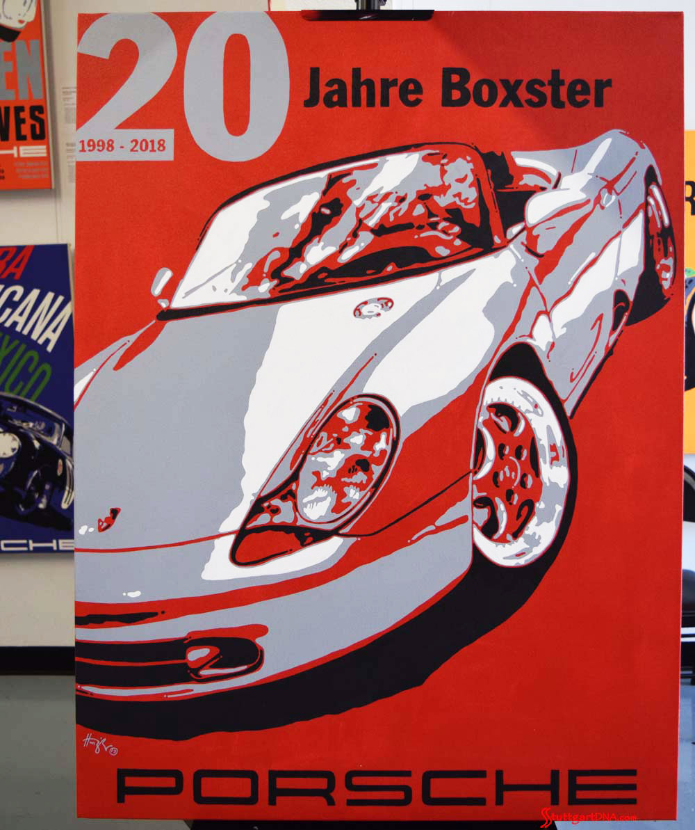 2017 Porsche L.A. Literature, Toy and Memorabilia Meet Weekend: 20 Jahre Boxster painting by Nicolas Hunziker, Switzerland. Original painting, acrylic on canvas, 36 inches by 48 inches, depicting the original Boxster prototype designed by American stylist Grant Larson. List Price: POA [price on application – i.e., contact Hunziker Design to obtain asking price]. Commissioned by the Porsche Club of America – official event artwork of the PCA Werks Reunion 2018 in Monterey, California, on Friday, August 18, 2017. Licensed by Porsche AG. Credit: StuttgartDNA