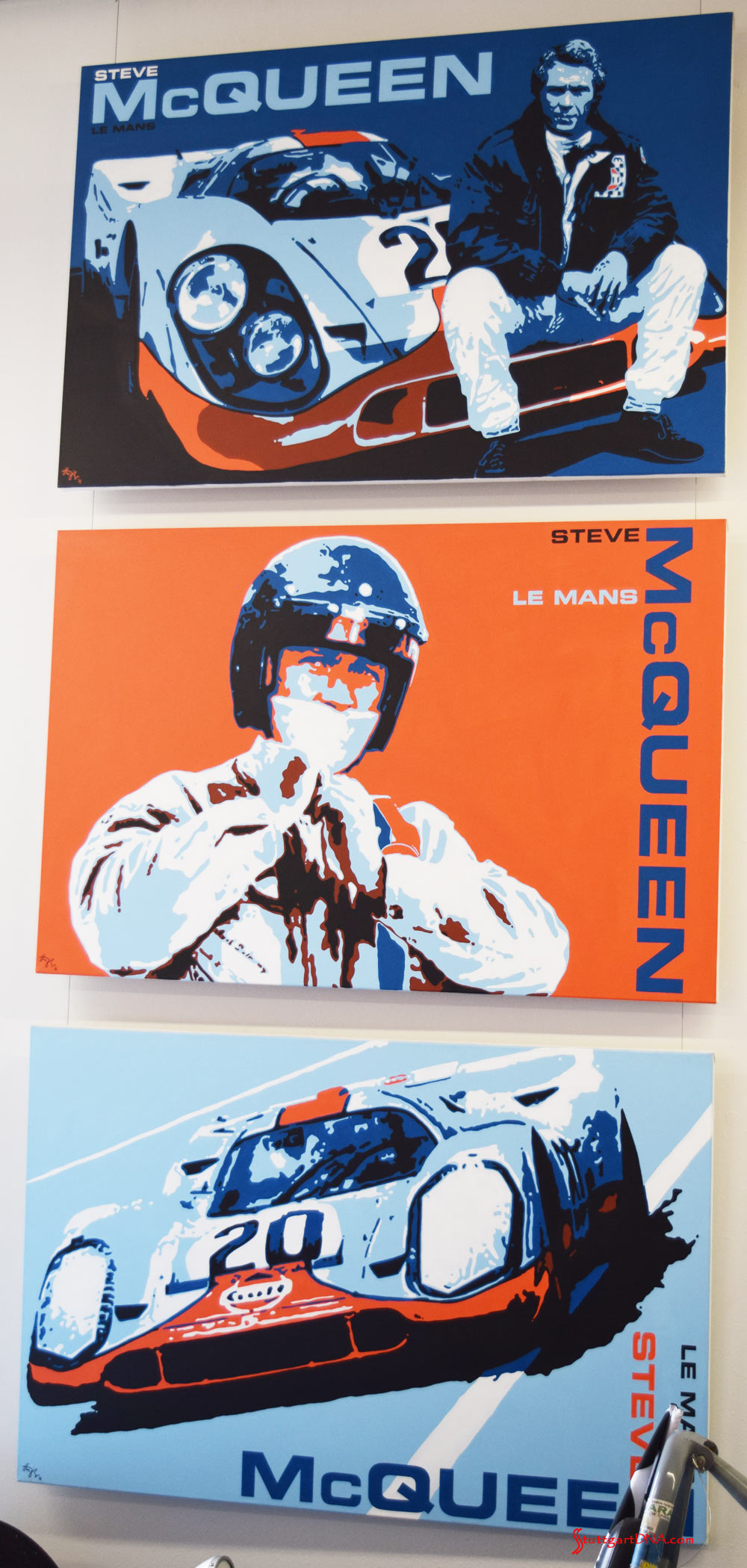 """2017 Porsche L.A. Literature, Toy and Memorabilia Meet Weekend: The Steve McQueen Le Mans Trilogy, 2016. By Nicolas Hunziker, Switzerland. Three original paintings, acrylic on canvas, 60 inches by 40 inches each. The paintings each depict stylized moments from the movie """"Le Mans."""" Commissioned by Chadwick McQueen and the Terry McQueen Testamentary Trust. List Prices: """"Between Scenes"""" Painting No. 1, $75,000; """"Just Like Jo"""" Painting No. 2, $75,000 (reserved); and """"No More Waiting"""" Painting No. 3, $75,000."""
