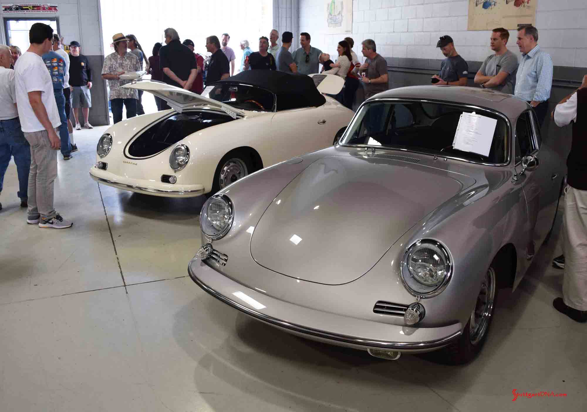 2017 Porsche L.A. Literature, Toy and Memorabilia Meet Weekend: Pictured here is the Willhoit Auto Restoration main shop floor with a white 1957 GT Speedster Carrera in bg. Credit: StuttgartDNA. Early all-steel-bodied GT built at Werks. 547/1 GT engine on test stand in b.g., ready to install. Credit: StuttgartDNA
