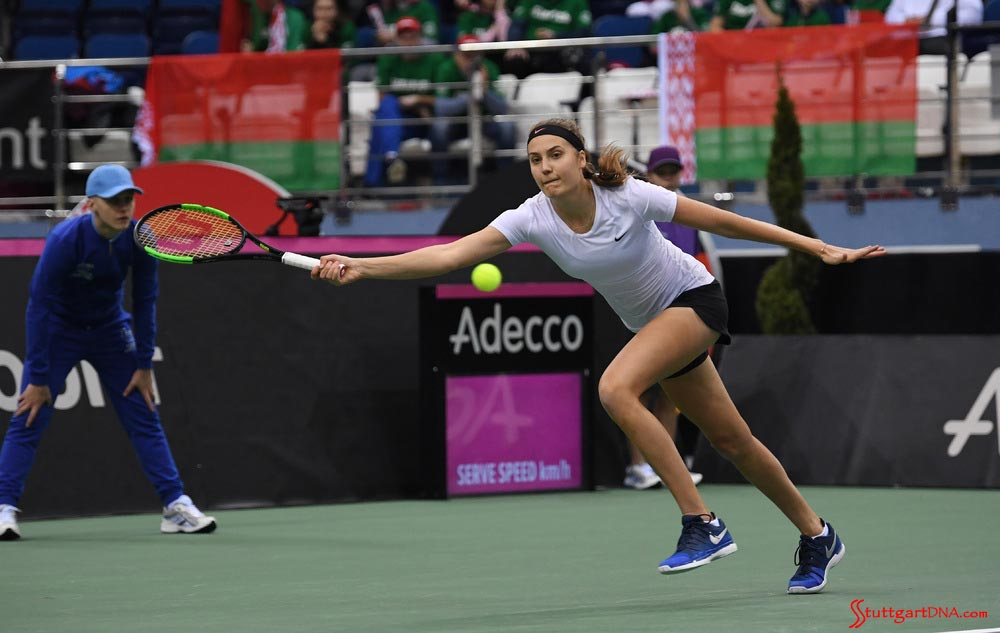 Porsche Team Germany wins Minsk 2018 Tennis Fed Cup: Porsche Team Germany's Antonia Lottner on 2018 Minsk court. Credit: Porsche AG