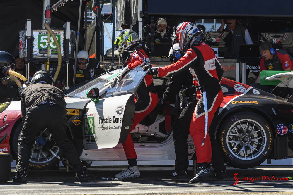 Porsche wins 2018 Petit Le Mans: Pictured here is a speedy driver change in No. 58's Road Atlanta pit box for the Wright Motorsports 911 GT3 R of Long, Nielsen, Renauer. Credit: Porsche AG