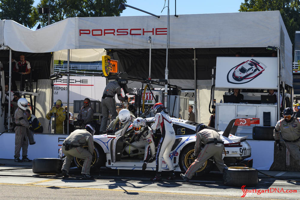 Porsche wins 2018 Petit Le Mans: Here we're getting a glimpse of the frantic No. 911 driver change in the Road Atlanta pits. Credit: Porsche AG