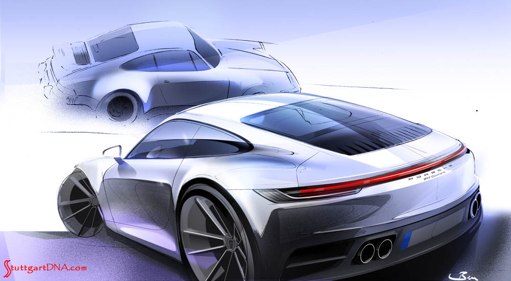Depicted here is a bold but elegant 992-gen 911 design sketch, with a comparative 930 sketch superimposed in b.g. Credit: Porsche AG
