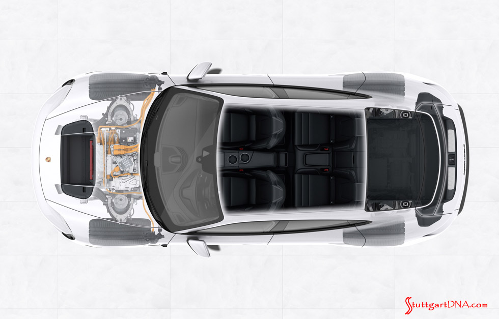 Porsche Taycan first electric sports car world premiere: The Taycan's two fore and aft luggage compartments are pictured. Credit: Porsche AG