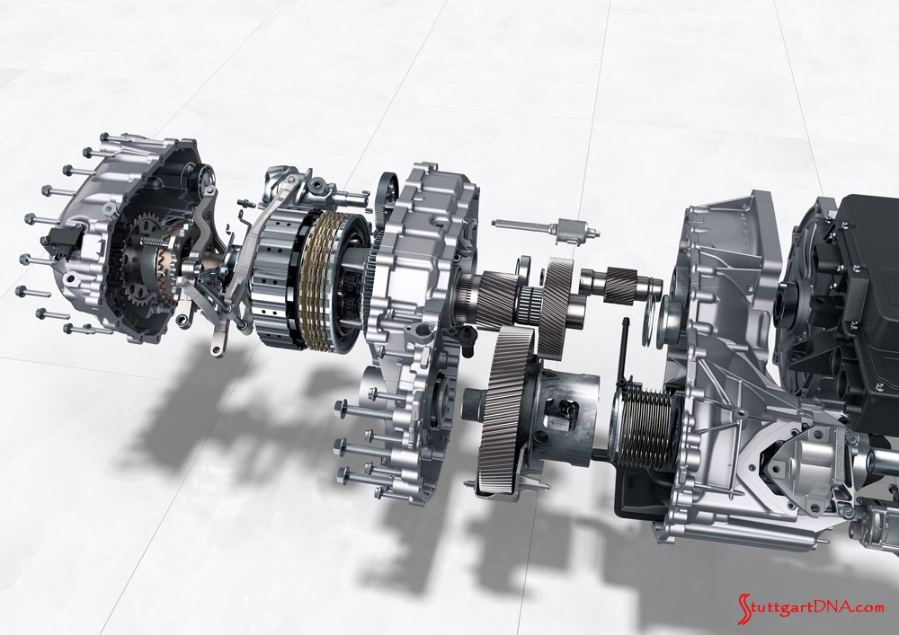 Porsche Taycan first electric sports car world premiere: The Taycan's 2-speed transmission on the rear axle is shown here. This is an exploded view exposing most of the various internal parts, gears and components. Credit: Porsche AG