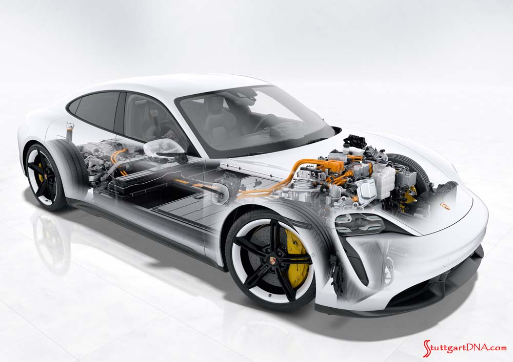 Porsche Taycan first electric sports car world premiere: Depicted here is the Taycan in graphic skeletal view. This shot isolates the internal mechanisms of the Taycan. Credit: Porsche AG